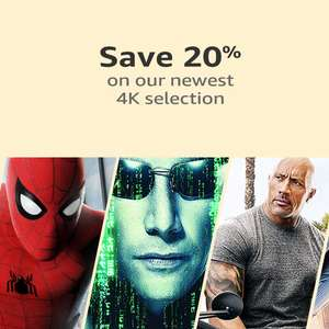 Save 20% on your Next 4K UHD Selection when purchasing Blu-Rays & 4K @ Amazon UK