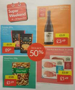 Lidl Super Weekend 21st September - 22nd September - Granola 500g 89p / Shiraz £3.49 / Mixed Nuts 200g £1.29  / Twin Pack Bacon 2x250g £1.49