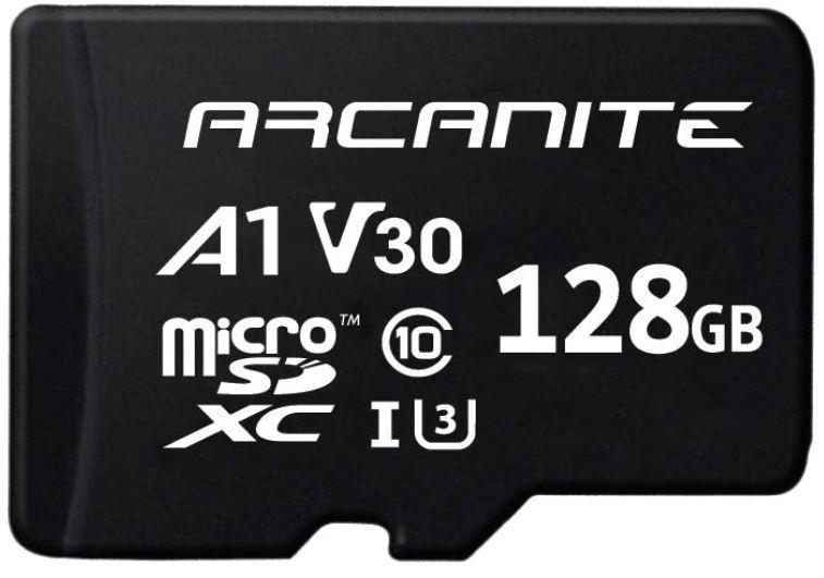 ARCANITE 128GB microSDXC CARD +Adaptor UHS-I U3,A1,V30,4K,C10,90/MBs,45MB/s -for £13.59 (64GB for £8.79)  Prime/+£4.49 Non Prime @ Amazon UK