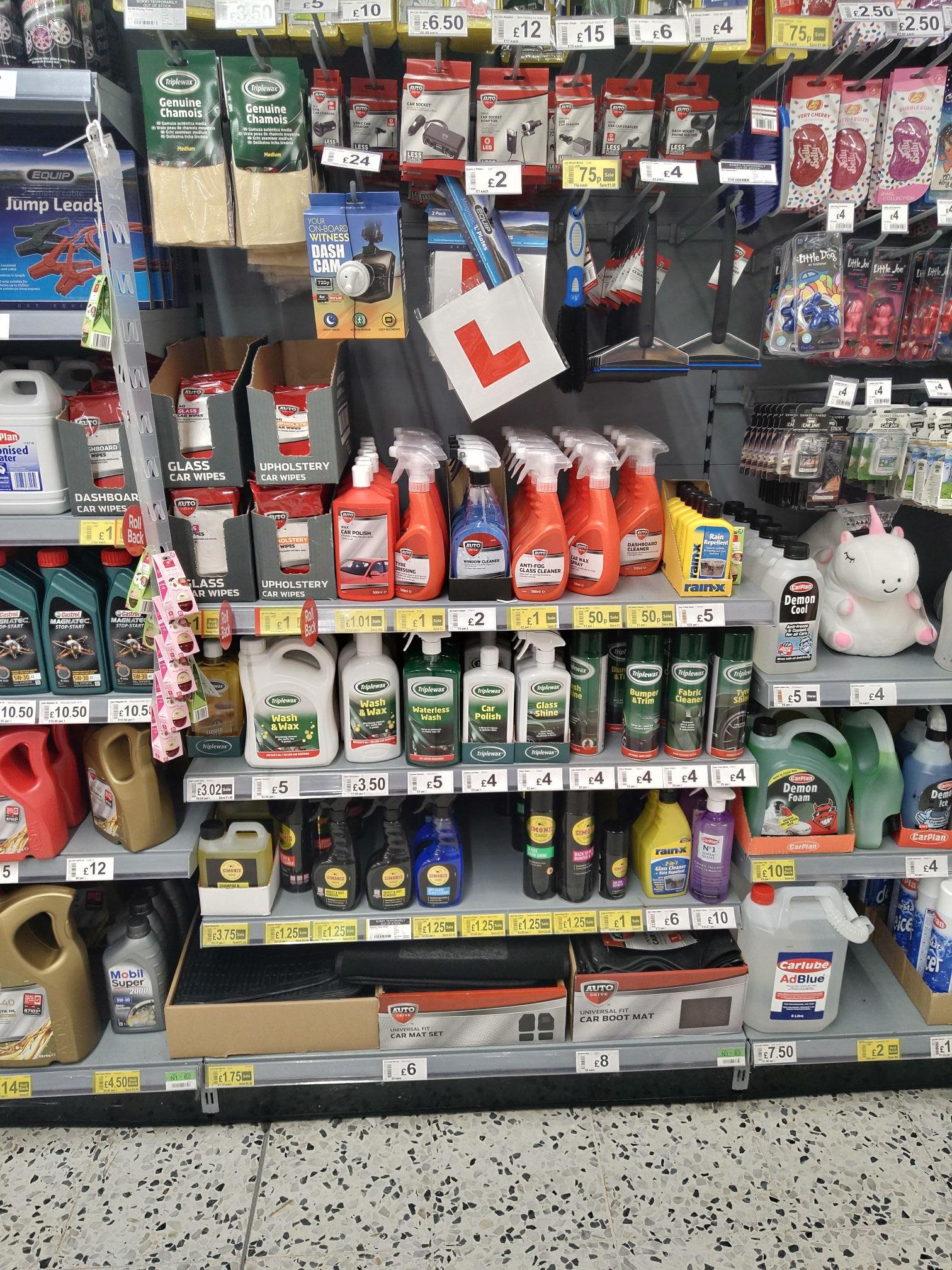Lots of Car Cleaning Kit discounted by up to 75% at Asda / Simoniz Glass Clean Anti Glare 500ml £1.25  /  Simoniz Shampoo Wax 1L £3.75