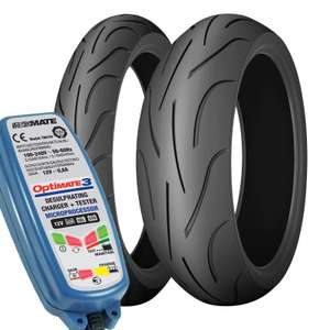 Michelin Pilot Power ZR17 Motorcycle Tyres Pair with FREE Optimate 3 worth £49.99! 190 & 120 - £129.58 (With Code) @ M&P Direct