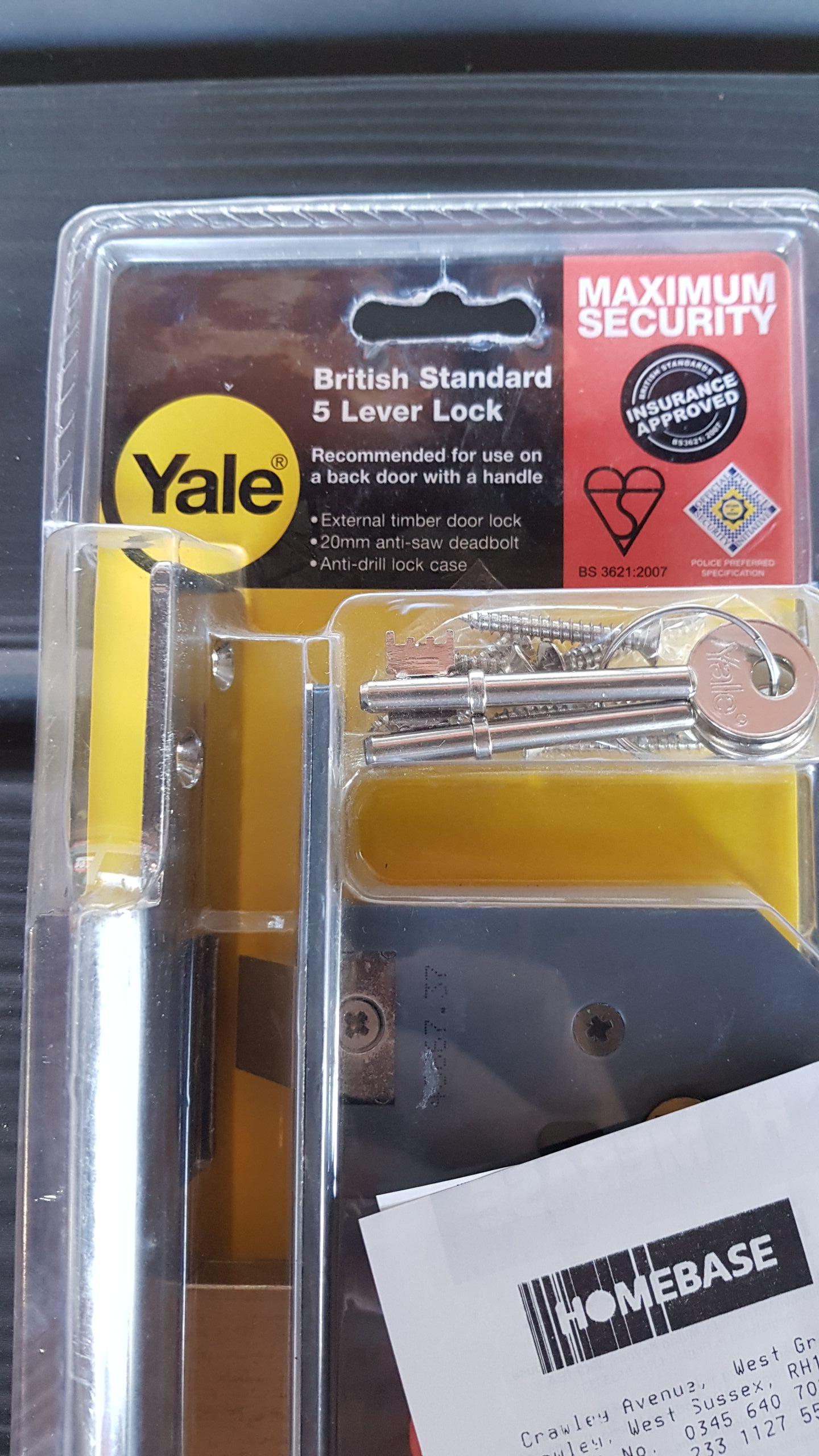 Yale British Standard 5 Lever Lock £10.80 @ Homebase (Crawley)