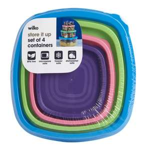 Wilko Rainbow  Container 4 Piece Set half price 50p instore