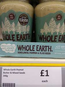 Whole Earth Foods peanut butter and mixed seeds 340g £1 Heron Foods - Cottingham