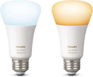 Philips Hue White Ambience Twin pack A19 E27 60W Equivalent Dimmable LED Smart Bulbs £24.99 @ Amazon