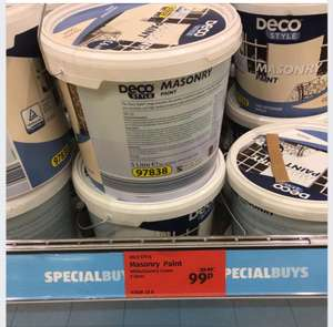 5 Litre Masonry paint white or country cream 99p @ Aldi