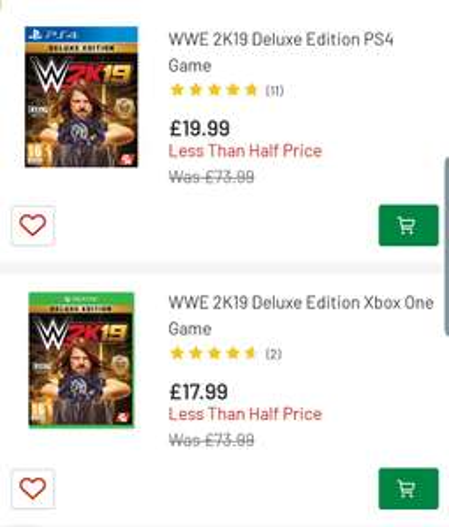 WWE 2K19 Deluxe Edition -  XBOX £17.99 / PS4 £19.99 @ Argos