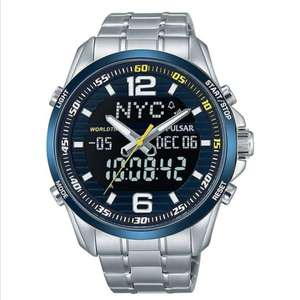 Pulsar Analogue & LCD Digital Watch with Stainless Steel Plated Bracelet - Model £44.99 @ 7dayShop