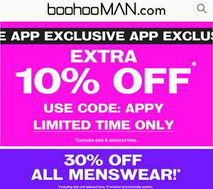 10% Off (On top of 30% Off) BooHooMan.com (Prices from 90p!)