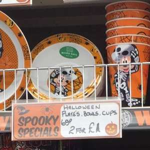 Mickey Mouse Skeleton Halloween plastic  Plates, Bowls and Cups 69p each  or 2 for £1 in store Fulton Foods