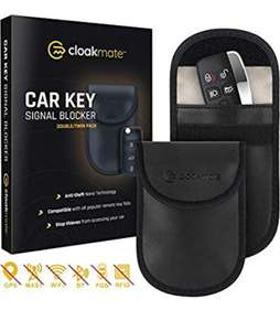 2 x Car Key Signal Blocking Pouch by Cloakmate £5.04 (+£4.49 Non Prime) Sold by Jayo Retail Ltd and Fulfilled by Amazon