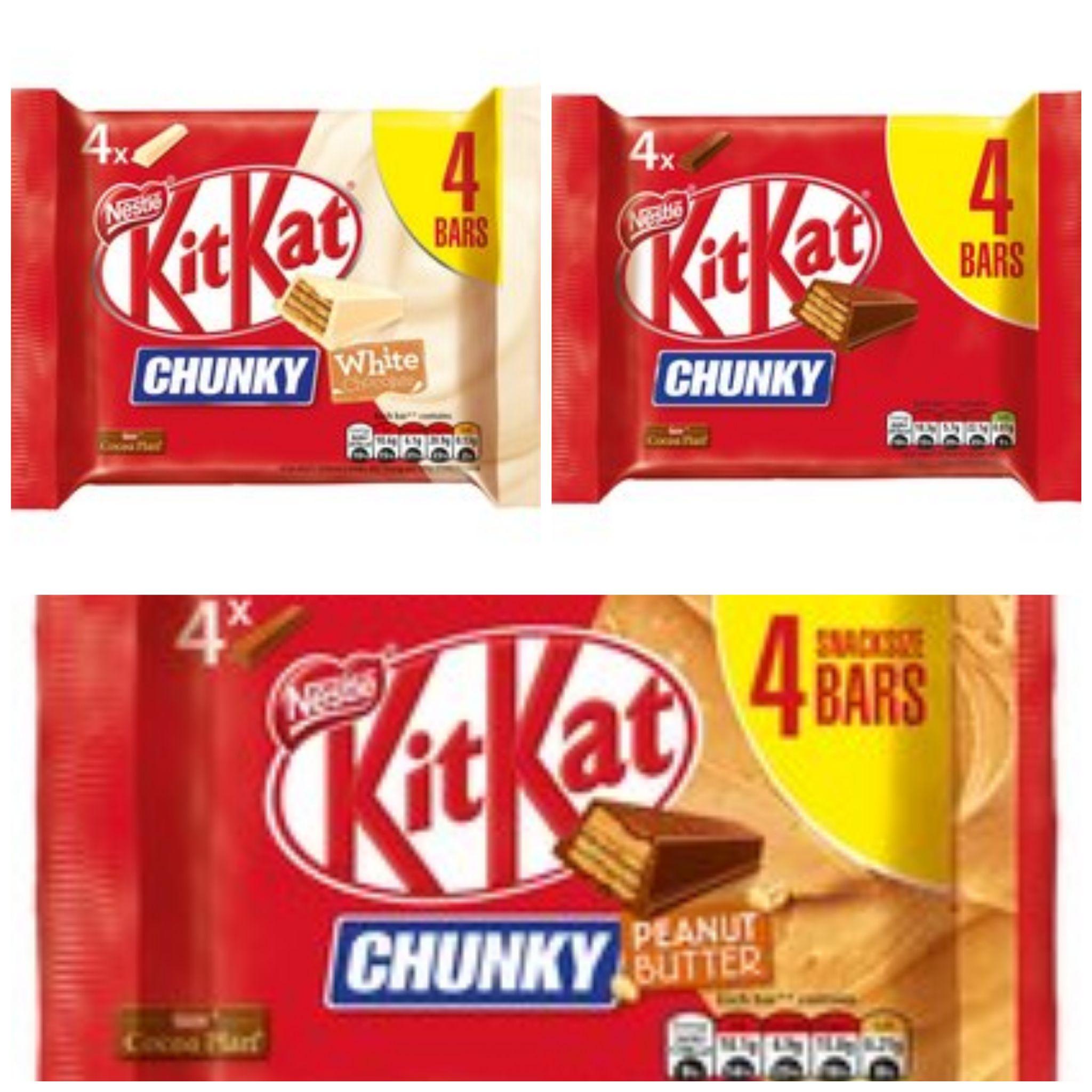 Kit Kat Chunky (White / Peanut Butter / Original) 4 pack for 90p @ Tesco