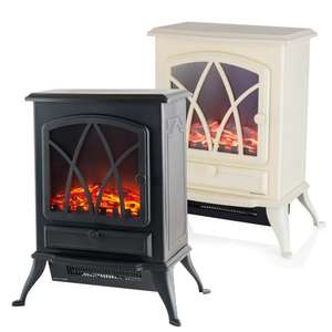 Log Effect Fire Stove In Black or Cream  With Settings for 1000W and 2000W - £41.98 With Next Day Delivery @ JTF