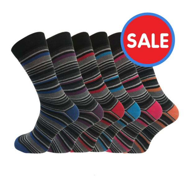 STRIPED MULTI-COLOURED SOCKS (6 PAIRS) £3.95 Delivered @ Socksmad