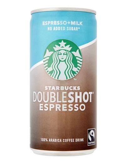 Starbucks Fairtrade DoubleShot Espresso No Added Sugar 100% Arabica Coffee Drink 200ml £1 @ Sainsbury's