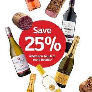Buy 6 or more bottles of wine and save 25% @ Sainsburys