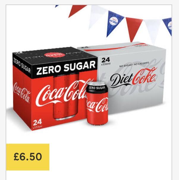 Diet coke / coke zero 24 x 330ml cans only £6.50 @ Tesco