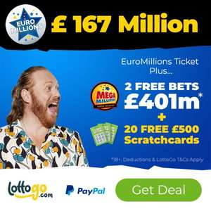 EuroMillions ticket (£167M) + 2 free Megamillions bets (£169M) + 20 free scratchcards for £2.50 at LottoGo