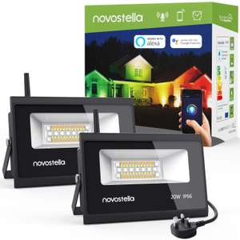 Novostella 2 Pack 20W LED Smart Outdoor RGB App Controlled Floodlights - Alexa / Google Assistant / IFTTT - £39.99 Sold by Ustellar-EU & FBA