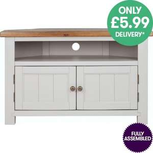Hampshire Solid Wood Corner TV Unit - Fully Assembled for £129.83 With Free Next Day Delivery @ JTF