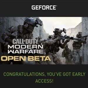 Free BETA codes for Modern Warfare via NVIDA Geforce experience (invite only)