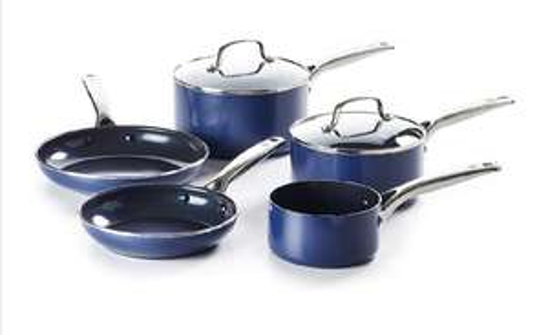 Blue diamond pan set (induction and gas) - non toxic non stick surface £40 @ Amazon