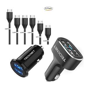 TeckNet 9.6A/48W USB 4Port + Mini USB PowerDash 4.8A/24W+6 Pack USB Cables £8.99  (+£4.49 Non Prime) Sold by BLUETREE & Fulfilled By Amazon