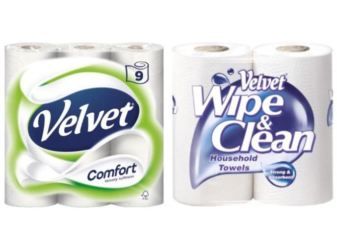 Velvet Comfort 5 x 9 Pack (45 rolls) for £11.38 or Velvet Wipe & Clean Kitchen Towels 10 x 2 Pack (20) for £11.98 @ Costco