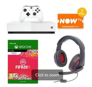 Xbox one S digital edition, Fifa 20, 3 download games, multi format gaming headset, now TV 2 months entertainment pass £169 GAME