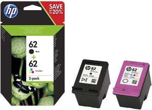 HP N9J71AE 62 Original Ink Cartridges Black and Tri-Colour (Cyan, Magenta, Yellow), Pack of 2 - £25.41 @ Amazon