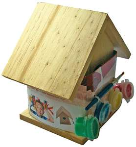 Paint Your Own Wooden Bird House - £2.86 CPC - FREE DELIVERY