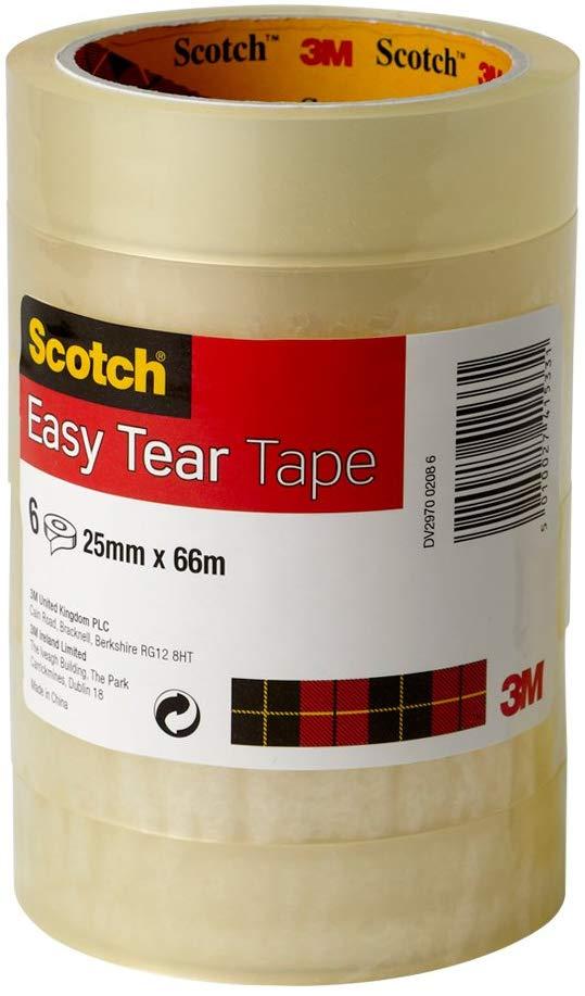 Scotch easy tear tape 25mm x 66m 6 rolls - £4.38 Prime / +£4.49 non Prime @ Amazon