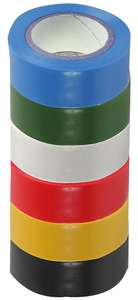 PRO POWER Electrical Insulation Tape 19mm x 8m (6 Colours) 6 Pack -  SH5005-6MPK - £2.40 delivered @ CPC