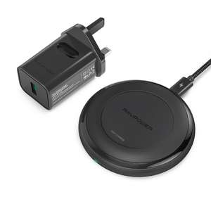 RAVPower 7.5W /10W Wireless Fast Charger Including 24W Quick Charge 3.0 Adapter £17.49 Delivered Sold by Sunvalleytek-UK and FBA