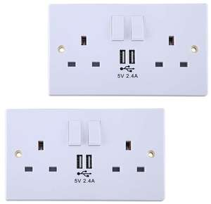 2 x Power Knight 2 Gang Power Socket Covers with USB Charge Ports - High 2.4A Output - £10.88 delivered @ goto7dayshop eBay