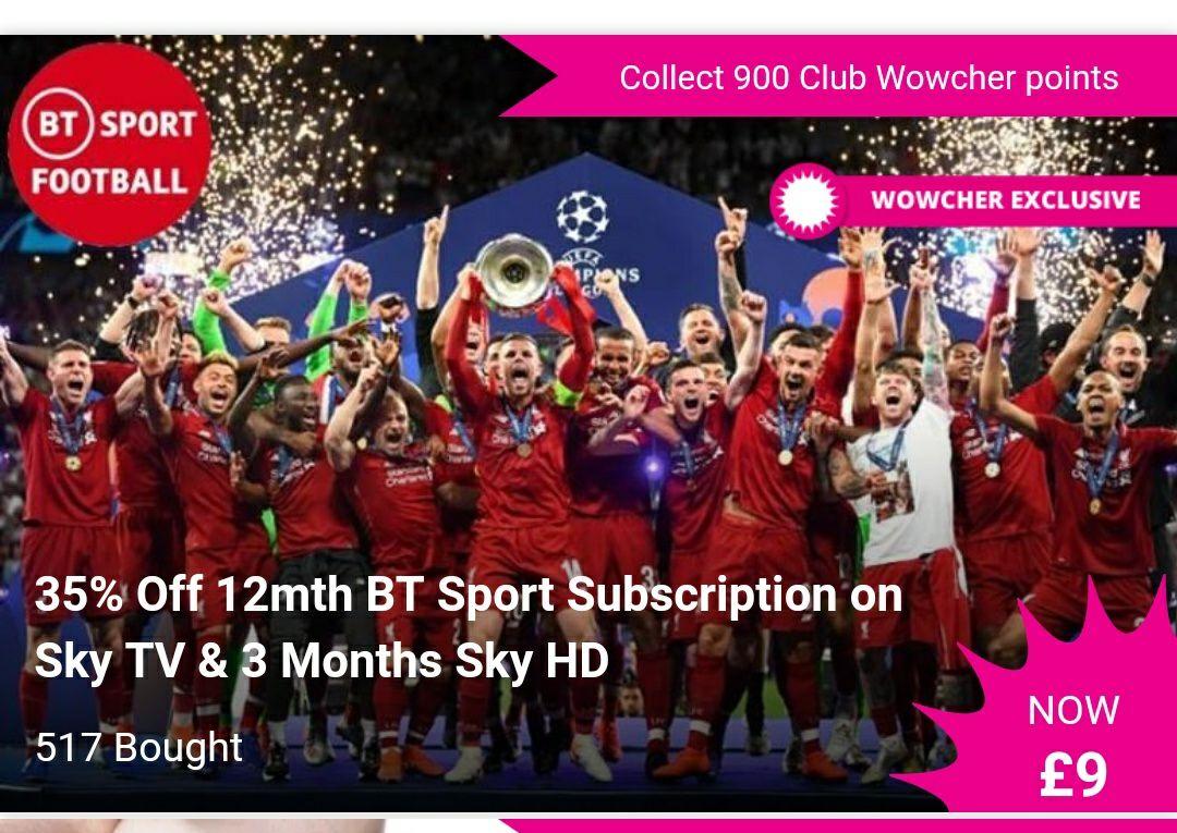 35% Off 12mth BT Sport Subscription on Sky TV & 3 Months Sky HD £9 (Total Sky Bill £240) + £5 Admin Fee @ Wowcher