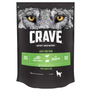 Crave High Protein and Grain-Free Dog Dry Food Lamb and beef or chicken and turkey 3 x1kg bags £6.97 + £4.49 delivery Non prime @ Amazon