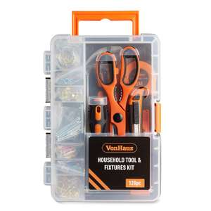 VonHaus 128pc Household Tool Fixtures & Fastener Kit– Home Starter Tool Set for £9.99 (Prime) / £14.48 (NP) delivered @ Sold by DOMU and FBA