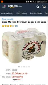 Birra Moretti £3 for 6 x 330ml Amazon Pantry Add 4 free delivery items from 0.75p for free delivery or £3.99