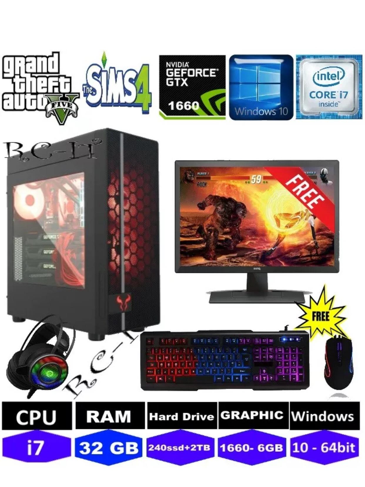 PC Intel Quad Core i7 3.4 Ghz New 240 SDD+ 2TB 32GB RAM 6GB GTX1660 win10 i7Mouse Keyboard240GB SSD  - £525 @ rightclickit ebay