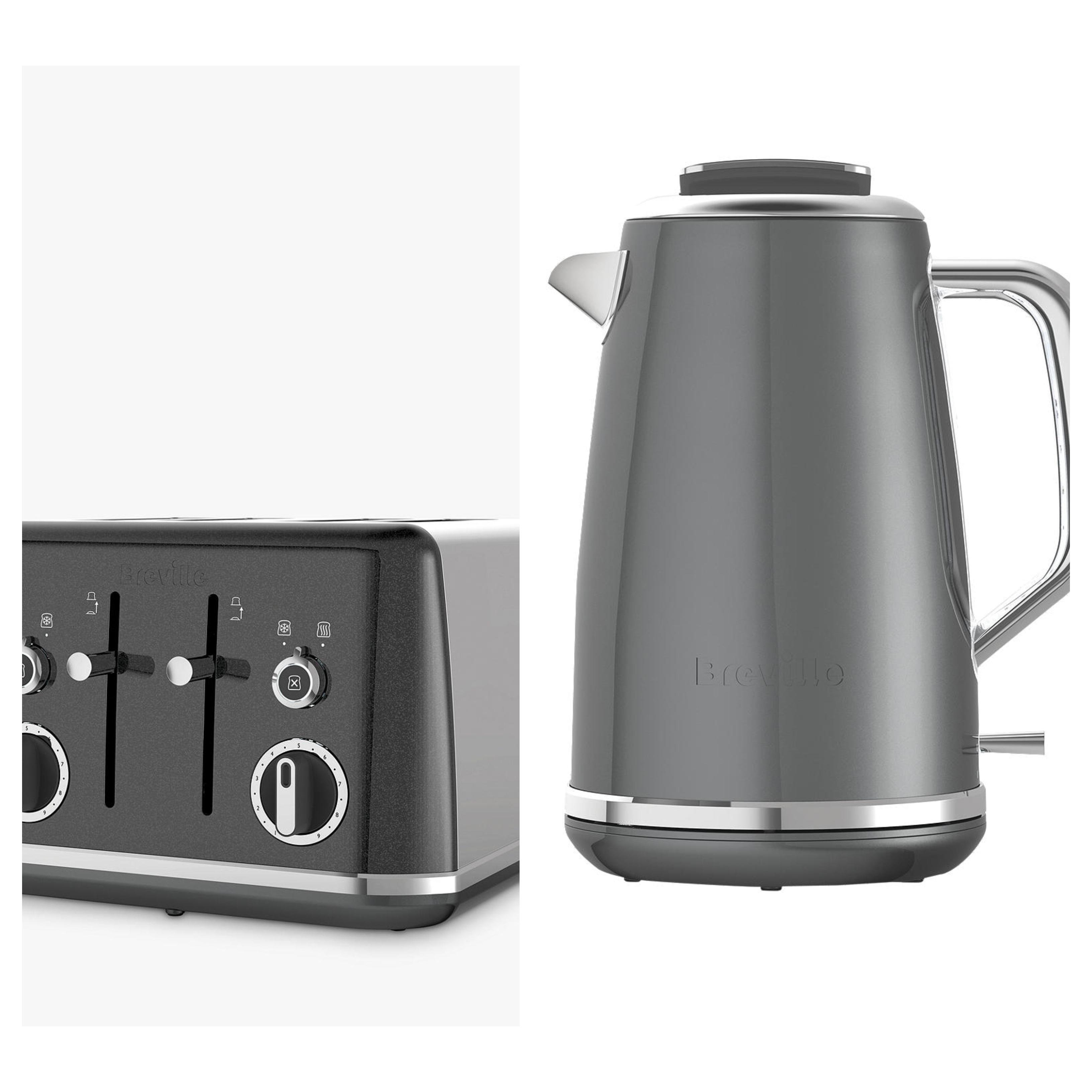 Breville Lustra 4-Slot Toaster, Grey - £16.00 // Breville Lustra Kettle, Grey - £16.00 (£2 C&C, free at £30.00) @ John Lewis & Partners