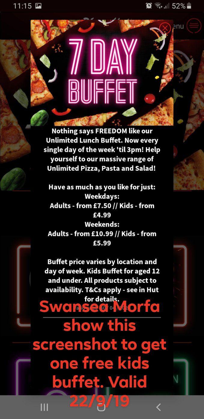 Pizza Hut Swansea one free kids buffet