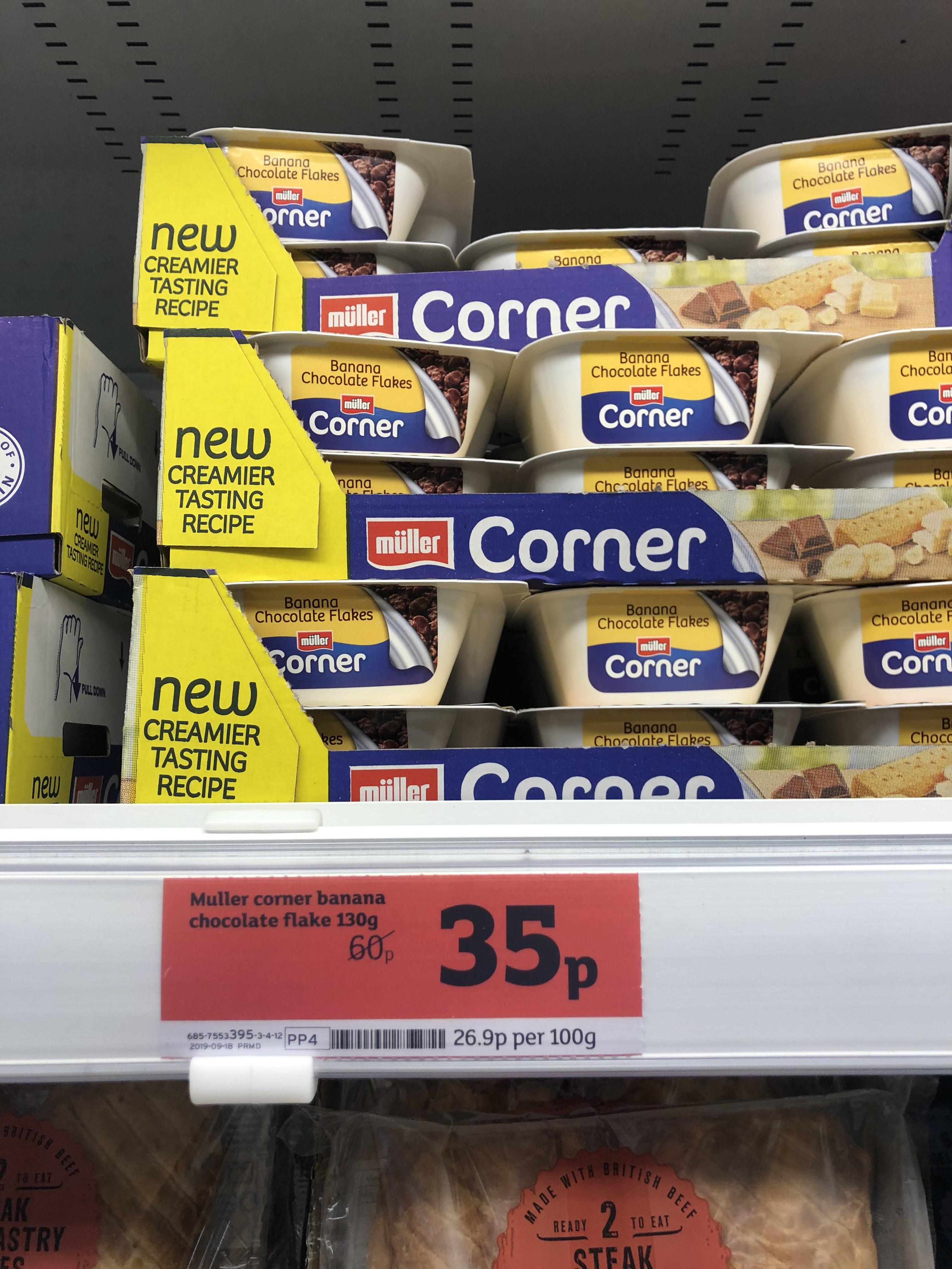 Muller Corner Yoghurt 35p at Sainsbury's Leicester