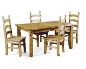 """Corona 5'0"""" Dining Table and 4 Chairs Mexican Pine Set by Mercers Furniture £175.99  @ Ebay.co.uk /  mercersfurniture1995"""
