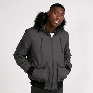 Mens Brave Soul Bradshaw Charcoal Hooded Bomber Jacket £22.39 delivered with code @ eBay / Footasylum Outlet (more in thread)