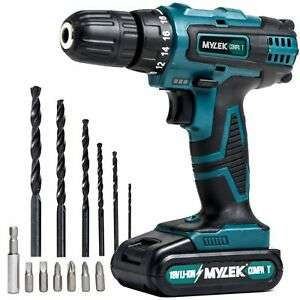 Mylek 18V Cordless Drill Driver Set Combi Lithium Ion Screwdriver LED Worklight  @ Ebay Hsd Online