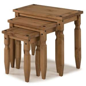 Corona Piccolo Nest of Tables - Mexican Solid Pine £23.15 Delivered @ eBay / mercersfurniture
