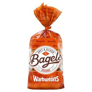 Warburtons Soft & Sliced Sesame Bagels 5 Pack £1 @ tesco