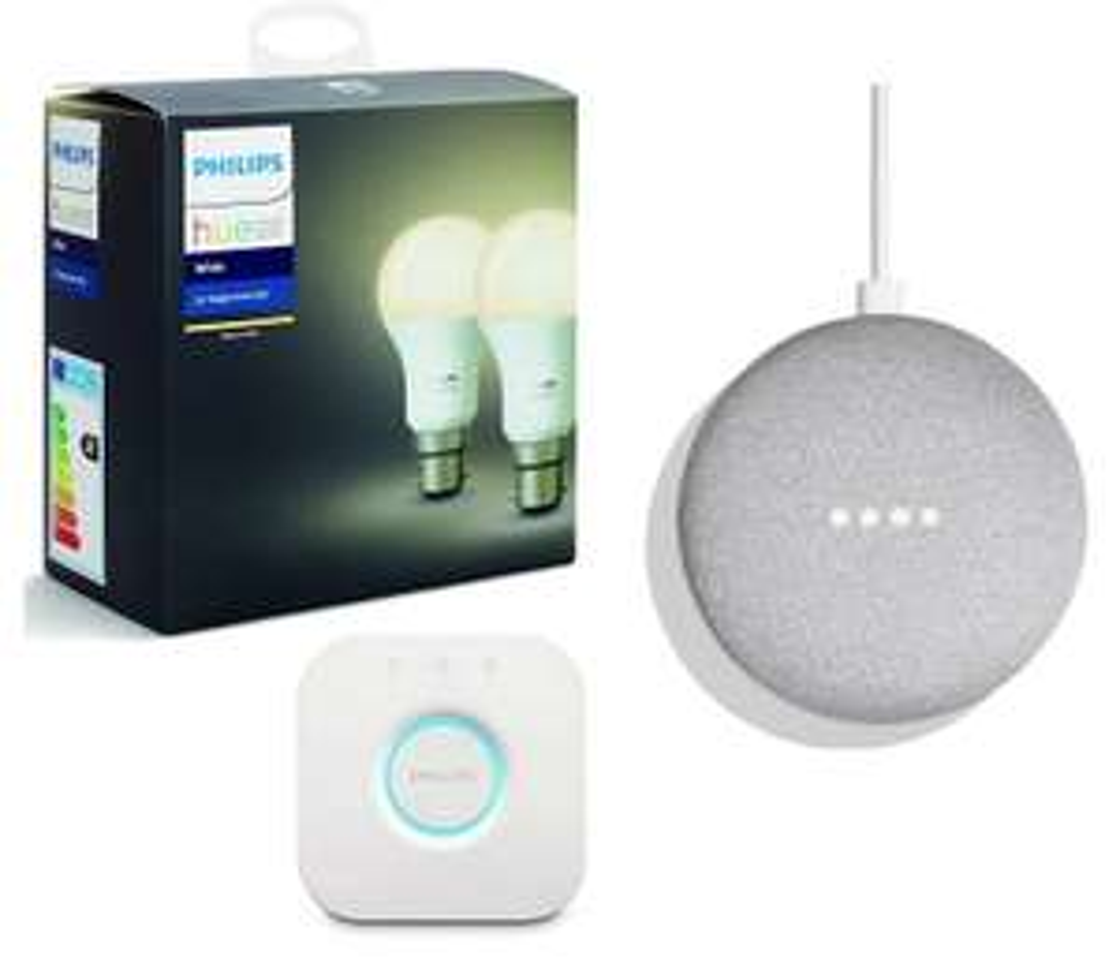 Philips Hue White B22 Starter Kit and Google Home Mini Speaker Chalk Bundle A £63.91 @  cheapest_electrical ebay