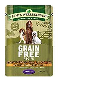 James Wellbeloved grain free wet dog food pouches 12 x 100grams adult, puppy and senior (see post) £6 + £3.49 delivery Non prime  Amazon
